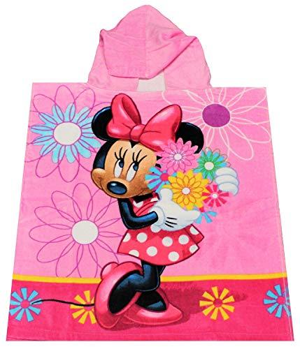 Minnie Mouse Poncho Badeponcho mit Kapuze rosa Minnie Maus mit Blumen, für Kinder, 50 x 115 cm, 100% Baumwolle