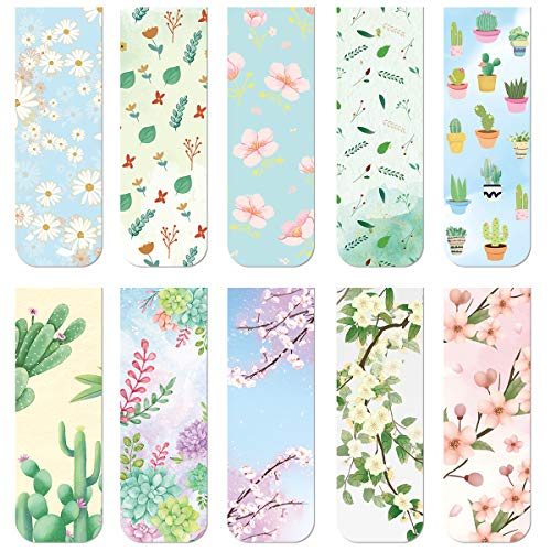 10 Floral Magnetic Bookmarks Magnet Page Markers for Kids Adults