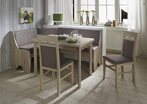 Truhen-Eckbankgruppe Lessach - Eiche Sonoma 2 Stühle und 1 Tisch ausziehbar - Bezug grau - variabel aufbaubar
