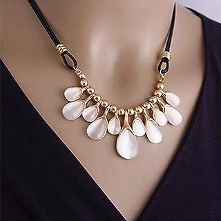 Bobury Mujeres Niñas Opal Crystal Drop Collar de Cadena de Clavícula Collar Corto Borla Colgante Neckalce Gargantilla