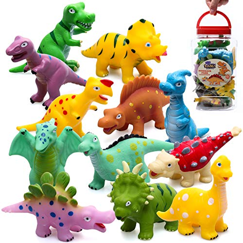 Hely Cancy Baby Bath Toys Squirter Dinosaur 16 Pieces Mold Free Bathtub Toy for Toddler Kid Boys Girl Child