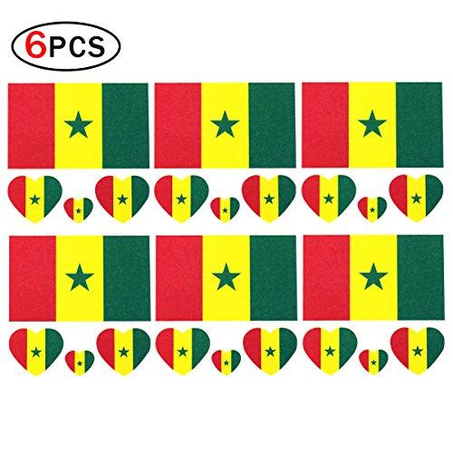 CDKJ 6 x Drapeau Tattoo Sénégal de fans de football drapeau autocollants
