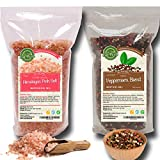 Four Peppercorns Blend | 12 oz and Himalayan Pink Salt (Coarse Grain) 2 lbs | Freshly Packed , Whole Black , Pink , Green , White Multi Color Pepper Corsn For Grinders Refill