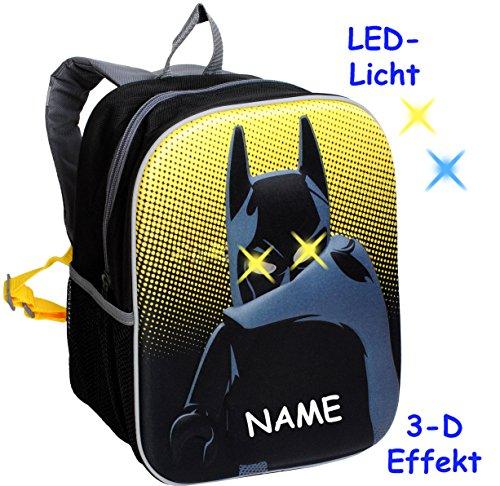 alles-meine.de GmbH 3-D Effekt & LED Licht ! _ Kinder Rucksack -  L E G O - Batman  - incl. Name - Tasche - wasserfest & beschichtet - Leuchtend - Kinderrucksack mit Seitenfach..