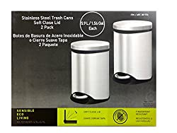 Sensible Eco Living 1.56 gal 2Pack Stainless Steel Trash Cans w/ Soft Close Lids