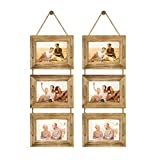 DLQuarts Hanging Picture Photo Frames Collage 5x7 Without Mat & 3.5x5 with Mat, Rustic Wood 3-Frame, Vintage White 2-Pack