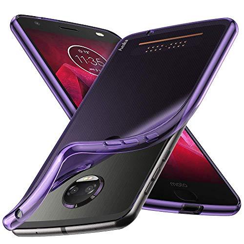 Moto Z2 Force Case, Aeska Ultra [Slim Thin] Flexible TPU Soft Skin Silicone Protective Case Cover for Motorola Moto Z2 Force Edition (Purple)