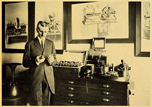 xuyuandass Nikola Tesla Retro Picture Poster Fai da Te HD Stampa su Tela Murale Sfondo Moderno Decorazione della Casa Pittura A Olio Senza Cornice 50X60 Cm 2136R