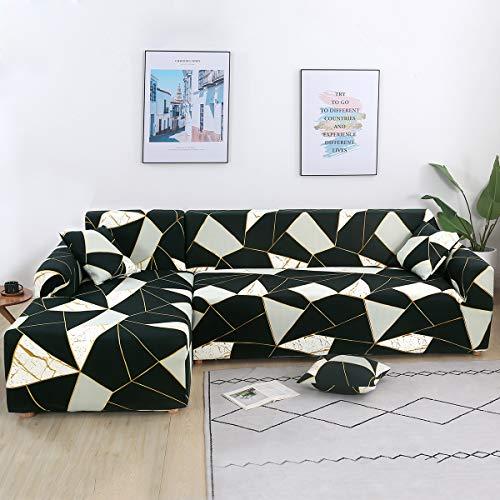 Mingfuxin L-Shaped Sofa Slipcovers, 2PCS Jacquard Polyester Fabric Stretch...