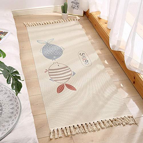 Almohadilla de algodón étnica transfronteriza ins tapiz de color retro alfombra hecha a mano dormitorio almohadilla de pie de cabecera