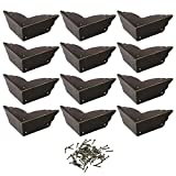 Cosmos Pack of 12 Antique Metal Box Corner Protector Edge Safety Guard Cabinet Furniture Corner Metal Bumpers, Bronze Tone Color