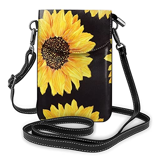 Bolso cruzado negro del monedero del teléfono celular del girasol, bolso del teléfono celular, monedero de la cartera del teléfono celular bolso del embrague de cuero
