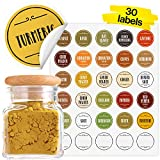 Vinta Quick-find Spice Jar Labels Stickers 1.5' Preprinted Color-Coded Waterproof Round + Extra Write-on Labels