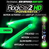 ROCKSTIX 2 HD GREEN, BRIGHT LED LIGHT UP DRUMSTICKS, with fade effect, Set your gig on fire! (GREEN ROCKSTIX)