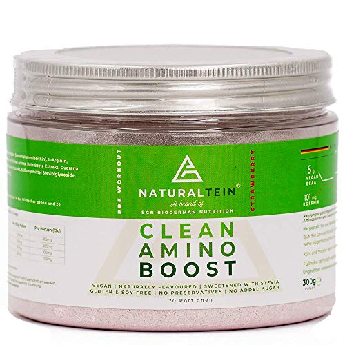 Naturaltein Clean Amino Boost Pre-Workout Fitness Booster ohne Zusätze I hochwertiges BCAA vegan mit Grüntee Rote Bete Ingwer I Sport Nahrung Muskelaufbau I natürlicher Erdbeergeschmack 300g