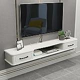 Consola Multimedia Montada En La Pared, MDF, Soporte De TV Flotante Blanco, Mueble TV con 2 Cajones, (51.1 * 9.44 * 6.3in) (Color : White, Size : 130cm)
