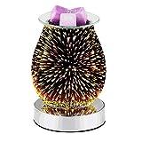 happygirr Difusor de aromaterapia de cristal por ultrasonido 3D para aceites esenciales con cera derretida, humidificador, para la decoración de dormitorios, casa u oficina