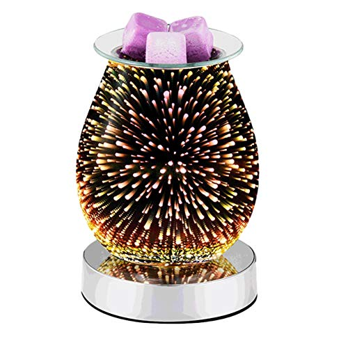 3D Glass Electric Wax Melt Warmer - Essential Oil Burner Wax Melt Burner Wax Burner Melter Fragrance Warmer for Home Office Gifts & Decor