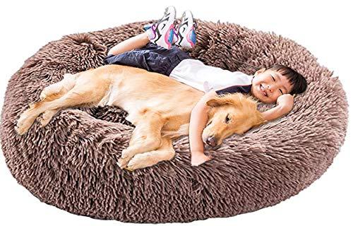 XXL Hundebett Orthopädisch Waschbar Rund Haustierbett für Große Grosse Mittelgroße Hunde XL Hundesofa Antistress Waschbar Kuschelig Hundekissen Memory Foam Hoch Oval Donut Labrador Hundehöhle Braun