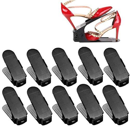 YIONGA CAIJINJIN Rack de Zapatos Lote 10 Soporte de la Zapata Ajustable Pila Zapatos Organizador Space Saver Zapatos del sostenedor del Estante de plástico Negro