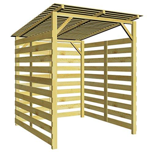 UnfadeMemory Holz-Unterstand für Feuerholz Lagerschuppen Feuerholzständer Brennholzregal Brennholz Stapelhilfe aus Imprägniertes Kiefernholz (mit 3 Seitenwänden)