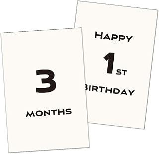 ベビーマンスリーカード 18枚セット(5歳まで)design9 モノクロ 月齢フォト 月齢カード シンプル 成長記録に 記念日 出産祝い