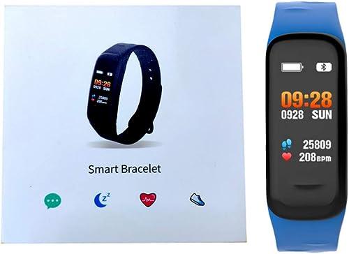 JKYQ Cardiofréquencemètre TrackMotion Surveillance de la Pression artérielle Bracelet à Puce imperméable à l'eau mètre de Carte de la Mode de la lumière Bracelet pour Les Hommes et Les Femmes,bleu