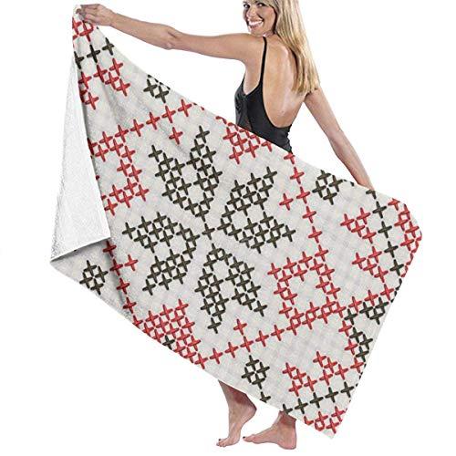 Adorno étnico ucraniano – punto de cruz toallas de playa de secado rápido, toalla de baño personal, toallas de playa manta para canotaje, piscina, playa y viajes (32 x 52 pulgadas)