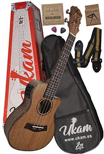 """Ukelele Concierto 23"""" Amplificado Caoba con cutaway UKAM mod.AM-TQ100EQ, con afinador incorporado, cejilla especial ukelele, funda acolchada, juego de cuerdas extra, correa ajustable y púas."""