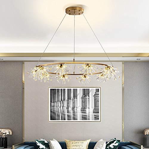 Boaber - Anillo de cristal de diente de león, creativo, para habitaciones, luz de lujo, moderno, restaurante, lámpara de 100 x 17 cm