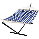 SUNCREAT Two Person Hammock with Stand Heavy Duty, Free Standing Hammocks Outdoors for 2 Person, Max 475lbs Capacity, Blue Stripes