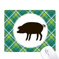 黒豚の動物の描写 緑の格子のピクセルゴムのマウスパッド
