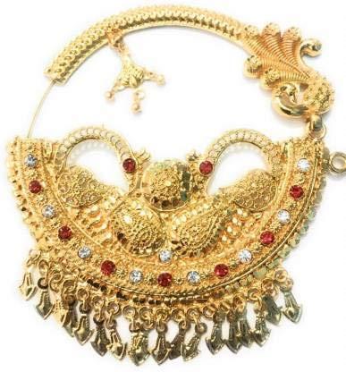 FebTech Nathiya - Pin de nariz para mujer, chapado en oro, acabado dorado y rojo y blanco
