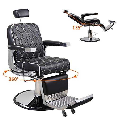 JAXPETY Vintage Hydraulic Reclining Barber Chair, All Purpose Styling Chair for Barbershop, Beauty Salon, Spa, Tattoo Equipment, Black