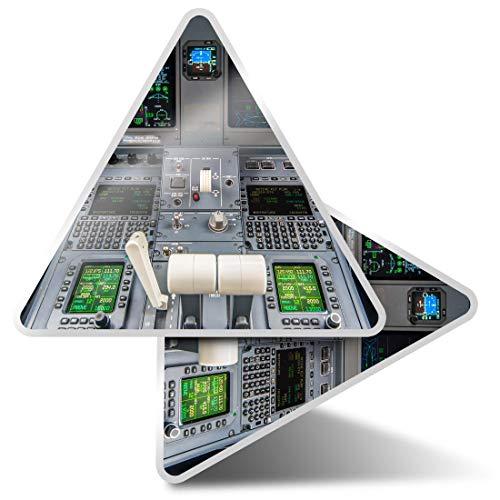 2 pegatinas triangulares de 10 cm – Avión cabina Avión Piloto Fun Calcomanías para portátiles, tabletas, equipaje, reserva de chatarra, nevera #15658