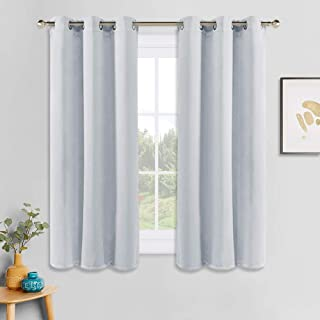 PONY DANCE Room Darkening Curtains - Ring Top Blackout Curtain Panels for Bedroom Window Treatment Drapes Home Decoration Energy Saving for Hotel, 42 x 45 inch, Greyish White, Double Panels