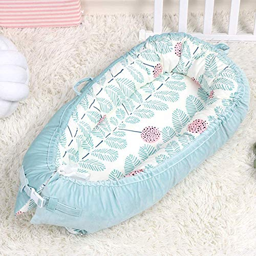 ADHW Baby Winter Newborn Baby Lounger Multifunctional Baby Nest 100% Cotton Comfortable Breathable Sleep Nest Pod 0-14 Months Portable Travel Cot Bionic Bed 80×50cm Baby Carriage Sleeping Bag