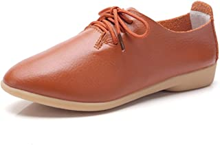 """Flat Oxfords for Women Block 2cm/0.78"""" Heel Lace Up Pointed Toe Slip in Wild Synthetic Leather Rubber Sole Vegan Antislip Lightweight Personalized Fashion Shoes High Heels"""