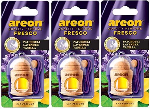 AREON Fresco Auto Duft Patchouli Lavendel Vanille Violett Glas Duftflakon Flakon Holz Hängend Anhänger Spiegel 4ml (Pack x 3)