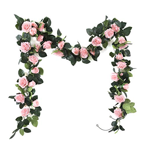 Artificial Vine with Flowers Indoor 2Pack Fake Silk Rose Hanging Garland Flower Hanging Decorations for Outdoor Wedding Party Wall(pink, 2)