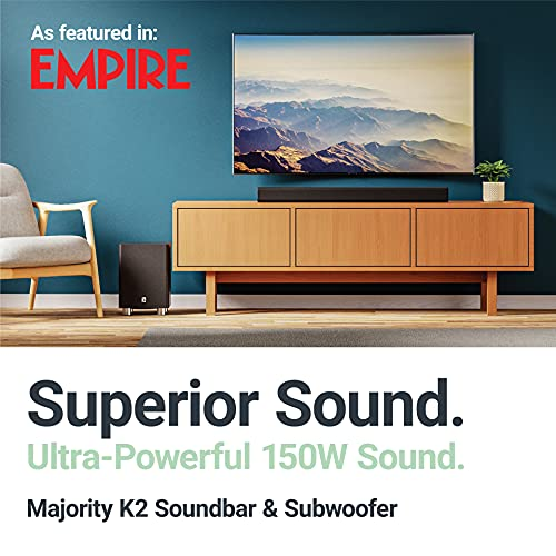 MAJORITY K2 Soundbar with Subwoofer | 150 WATT with 2.1 Surround Sound | HDMI ARC with multi-connection