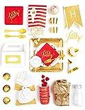 Caja para niños, color rojo y dorado