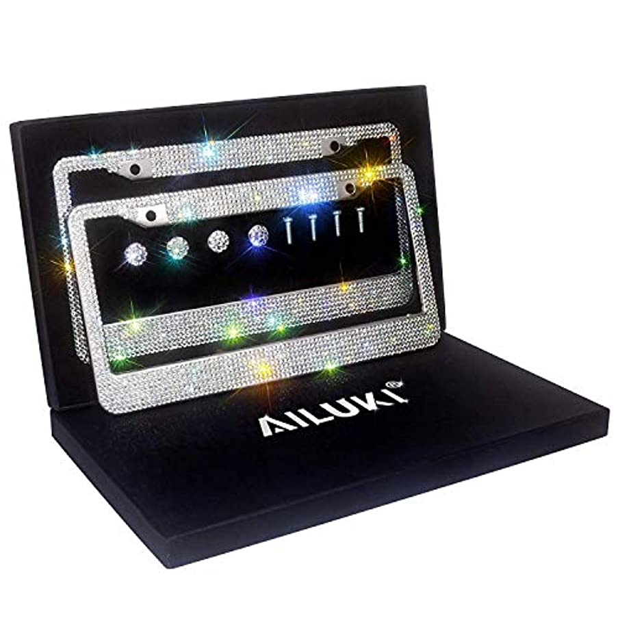 AILUKI Bling License Plate Frame, 2 Pack Black Crystal License Plate Frames with 2 Holes Bonus Screw Caps,Car License Plate Covers for US Vehicles/Truck