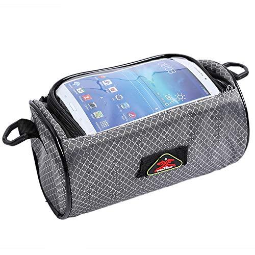 Sacoche avant de vélo avec écran tactile pour téléphone portable de 15,2 cm, sac de rangement portable pour vélo de montagne, équipement de cyclisme professionnel, gris