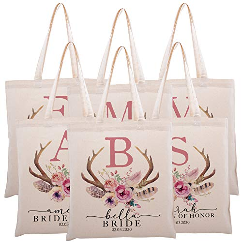 Personalized Printed Cotton Canvas Tote Bag | Custom Handbag Gift for Events | Wedding Bachelorette Baby Shower Birthday Party Christmas Bridesmaid | Vintage Antler With Initial | C1D03 | Set of 6