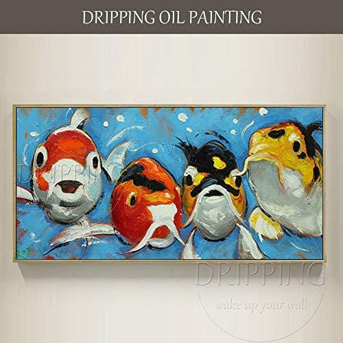 AFASSW Handbemalte Lustige Niedliche Tier Goldener Fisch Öl Gemälde Auf Leinwand Moderne Goldfische Öl Malerei Für Wohnzimmer Bild Hängt American Restaurant Eingang-50×100Cm(20×40 Inch)