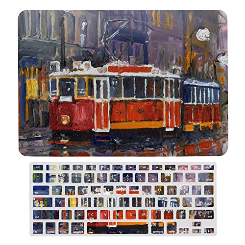 For MacBook Pro 13 Inch Case A1706, A198, A2159, Hard Shell & Keyboard Case Cover for Apple Mac Pro, Prague Old Tram Laptop Protective Shell Set