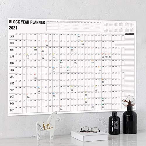 H87yC4ra Calendario De Pared 2021 Con Pegatinas De Marcas, Calendario Diario, Agenda Anual, Calendario De Papel, Decoración De Escritorio Calendario planificador diario