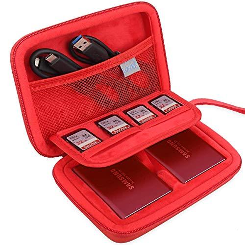 """Lacdo Estuche para Samsung T5, Dos en uno Estuche de Disco Duro para Samsung T5 T3 SSD Portátil 250GB 500GB 1TB 2TB USB 3,1 2,5"""" Disco Estado Sólido Externo Bolsa de Viaje Antigolpes, Rojo Metálico"""