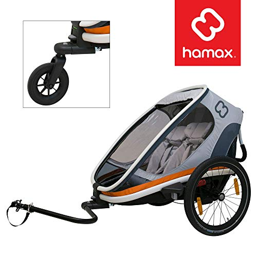 HAMAX Outback Multi-Sport Child Bike Trailer + Stroller (Jogger Wheel Sold Separately) (Two...